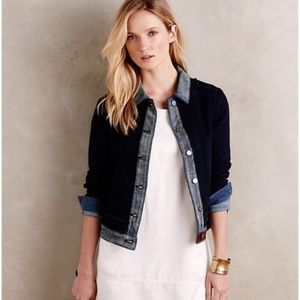Anthropologie Pilcro Waffle Denim Jacket XSP Blue